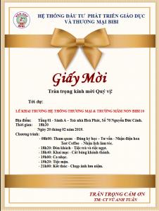 Giấy mời tham dự Lễ khai trương hệ thống thương mại & Trường Mầm non BiBi 10.