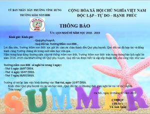 Thông báo lịch nghỉ hè của hệ thống mầm non BiBi
