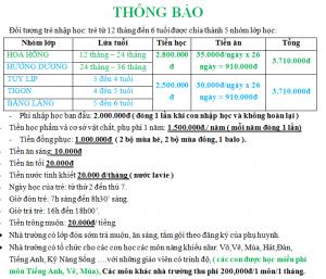 Chính sách tài chính – Học phí năm học 2020-2021 – Cơ Sở BiBi 10 số 70 Nguyễn Đức Cảnh